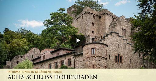 """Startbildschirm des Filmes """"Altes Schloss Hohenbaden: Informationen in Gebärdensprache"""""""