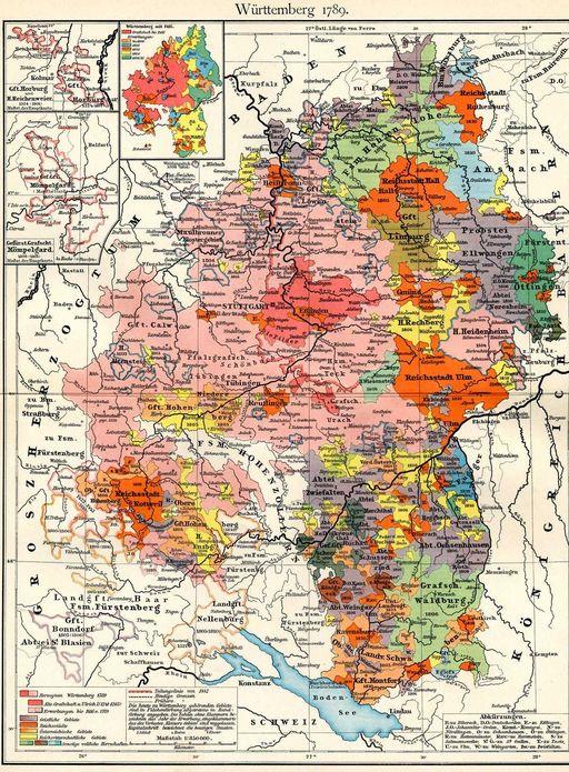 Das spätere Territorium Württembergs 1789, Putzger – Historischer Schul-Atlas
