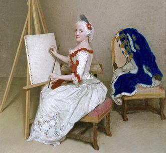 Bildnis Prinzessin Caroline Luise an der Staffelei, Pastell von Jean-Etienne Liotard, 1745