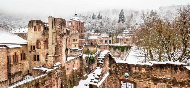 Schloss Heidelberg im Winter mit Schnee
