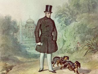 Wilhelma, König Wilhelm I. vor dem Maurischen Landhaus, unbekannter Künstler, Lithographie um 1846