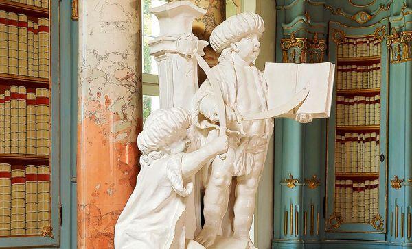 Kloster Schussenried, Detail, Osmanengruppe im Bibliothekssaal