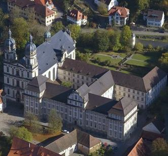 Luftansicht von Kloster Schöntal; Foto: Staatliche Schlösser und Gärten Baden-Württemberg, Achim Mende