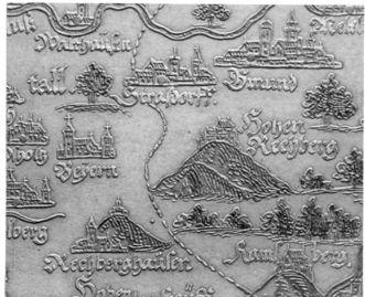 Karte von Baden-Württemberg auf Schiefer geätzt; Andreas Pleninger um 1603; Foto: Scan Landesmedienzentrum Baden-Württemberg