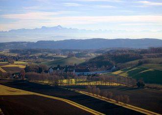 Luftaufnahme von Schloss Salem; Foto: Staatliche Schlösser und Gärten Baden-Württemberg, Achim Mende