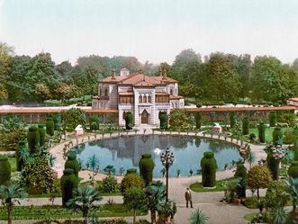 Wilhelma, Blick vom Maurischen Landhaus auf den Garten und den Festsaal mit Wandelgang um 1900