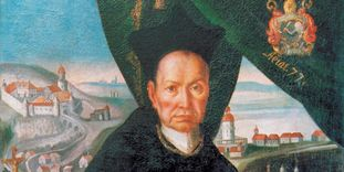Detail of a portrait of Abbot Knittel.