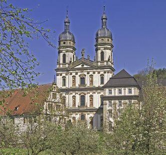 Double-towered Baroque church, Schöntal Monastery. Image: Staatliche Schlösser und Gärten Baden-Württemberg, Arnim Weischer