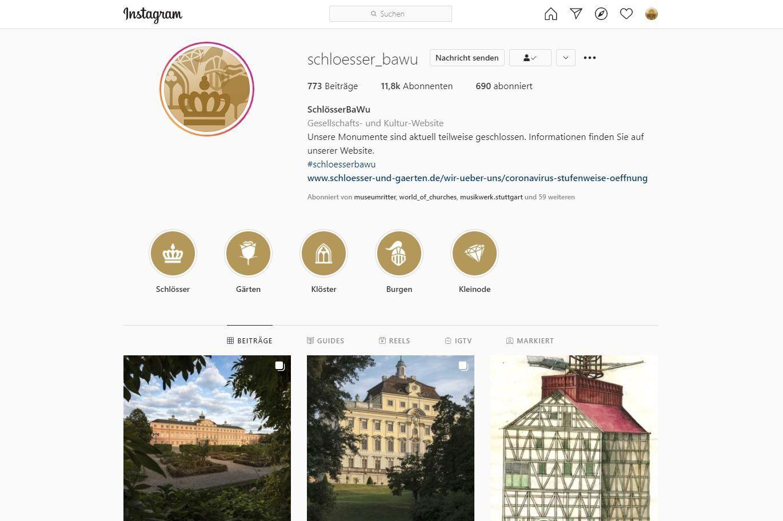 Staatliche Schlösser und Gärten Baden-Württemberg, Instagramseite