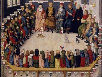 Ratssitzung des Grafen Eberhard des Milden, Ölbild, Kopie um 1540, Vorbild um 1440