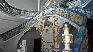 Monastère de Schöntal, escalier ; l'image: Staatliche Schlösser und Gärten Baden-Württemberg, Dieter Jäger