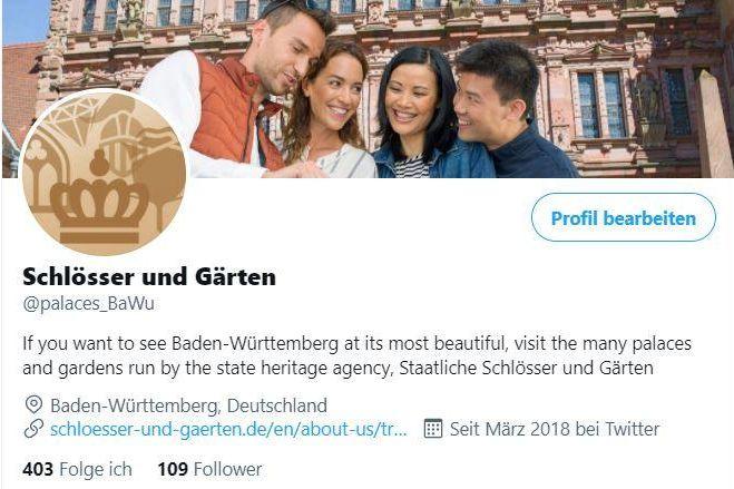 Staatliche Schlösser und Gärten Baden-Württemberg, Twitterseite