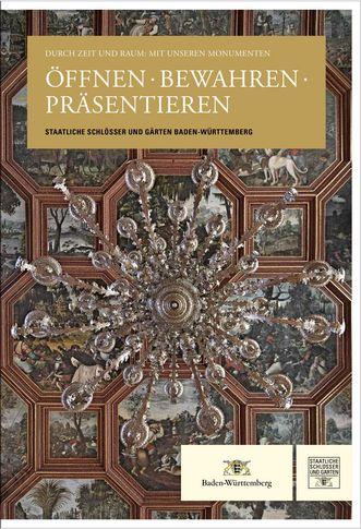 """Titel des Jubiläums-Sammelbandes """"Öffnen. Bewahren. Präsentieren""""; Gestaltung: Staatliche Schlösser und Gärten Baden-Württemberg, JUNG:Kommunikation GmbH"""