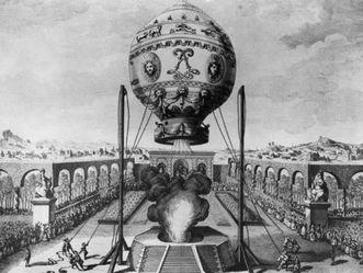 Heißluftballon der Gebrüder Montgolfiere, Claude-Louis Desrais, 1783