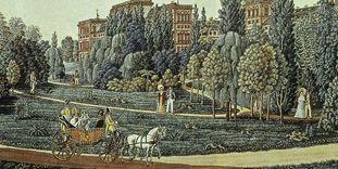 Schloss Mannheim mit seinem Landschaftsgarten, Ausschnitt aus einem Aquarell von J. P. Karg, 1819