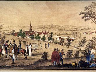 Österreichisches Militär vor dem Kloster Salem, Farbgebung rekonstruiert, Johann Sebastian Dir, 1804, Foto: Wikimedia-Commons, Urheber unbekannt